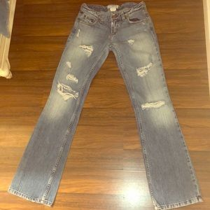Armani exchange bootcut destroyed jeans